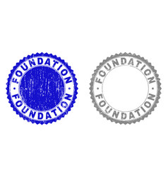 Grunge foundation scratched stamp seals vector