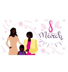 Happy three generations women standing together vector
