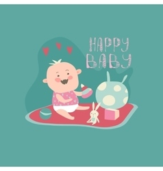 Happy toddler with baby toys vector