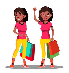 happy woman with shopping bags after shopping vector image
