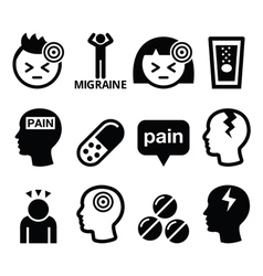 Headache migraine - medical icons set vector