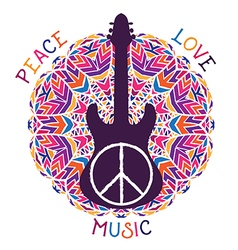 Hippie peace symbol and guitar vector