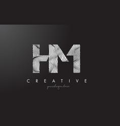 hm h m letter logo with zebra lines texture vector image