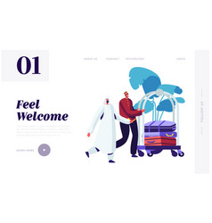 hotel bellboy meet arabic guest in hall vector image