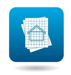 House blueprint icon in simple style vector
