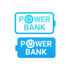 icons of power bank portable mobile battery device vector image