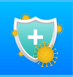 Immune system concept medical shield surrounded vector