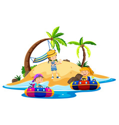 Island scene with children riding boats vector