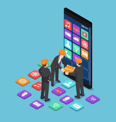 isometric businessman help each other to build vector image