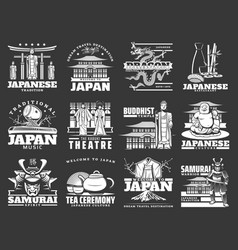 japanese culture japan travel landmarks icons vector image