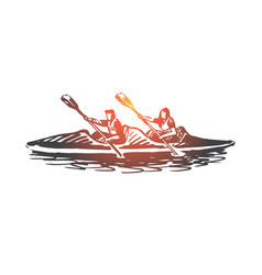 kayak sport water paddle canoe concept hand vector image