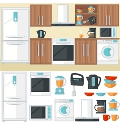 Kitchen room interior with kitchen furniture vector image vector image