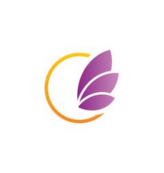 Leaf round sign logo vector