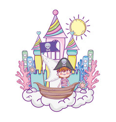 Little pirate in boat with castle vector