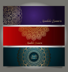 luxury banners with mandala designs vector image