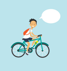 man cycling chat bubble character full length over vector image