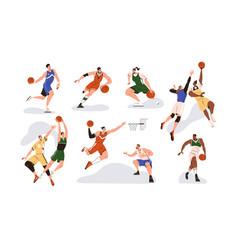 man players playing basketball with orange ball vector image