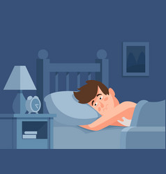 Man with insomnia lying in bed at dark night vector