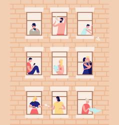 neighbors and neighborhood exterior building vector image