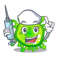 nurse cartoon microba virus bacteria in body vector image