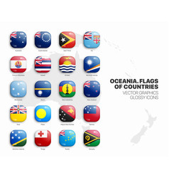 oceania countries flags 3d glossy icons set vector image