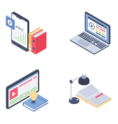 Online education isometric pack vector
