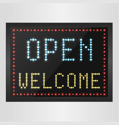 Open and welcome neon sign background vector