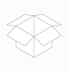Opened cardboard box icon isometric 3d style vector