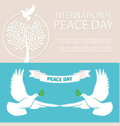 Peace day banners template with doves and vector