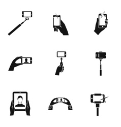 Photography on smartphone icons set simple style vector
