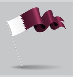 qatari pin wavy flag vector image