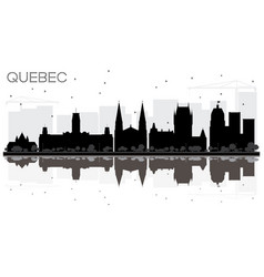 Quebec canada city skyline black and white vector