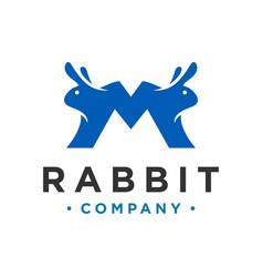 Rabbit letter m logo design vector