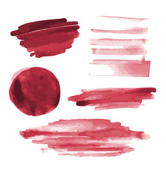 Red watercolor shapes circle paint brush strokes vector