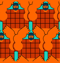 Redneck seamless pattern angry bearded man in vector