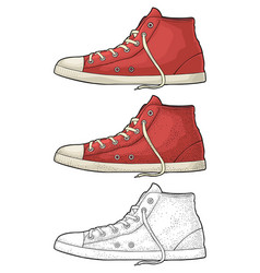 retro red sneakers vintage color engraving vector image