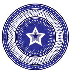 round die stamp or chip with blue radial star vector image