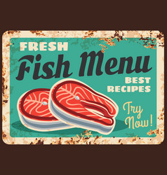 salmon fish steak fillet rusty plate seafood vector image