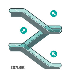 Scheme of escalators moving staircases with vector