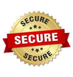 Secure 3d gold badge with red ribbon vector