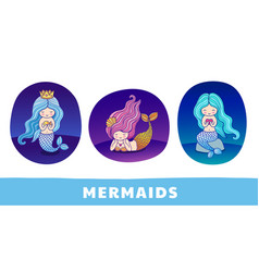 Set of cute cartoon princess mermaids on vector