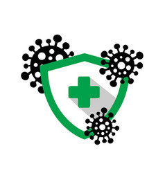 shield with a medical cross protects against dange vector image