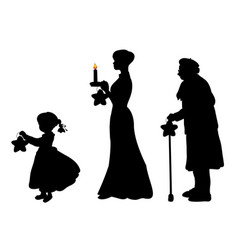silhouette girl mother grandmother bear star vector image
