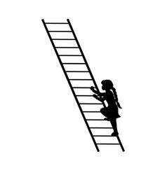 Silhouette girl up climbing stair vector