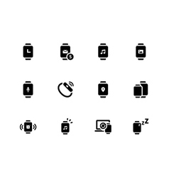 Smart watch icons on white background vector image