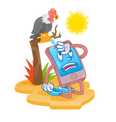 smartphone tired for hot sun vector image
