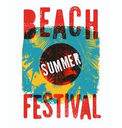 summer beach festival grunge vintage poster vector image