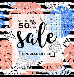 summer sale template banner tropical leaves vector image