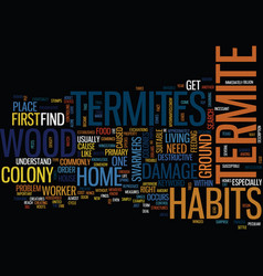 Termite habits text background word cloud concept vector