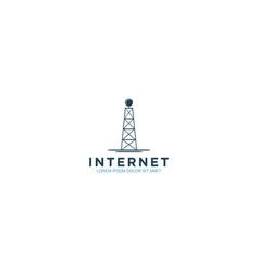 Tower signal internet logo design - modern vector